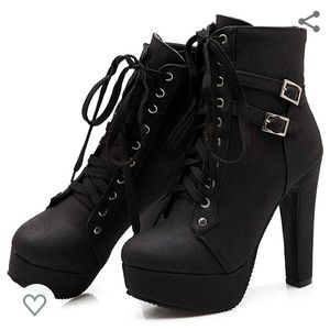 Black Lace Up Ankle Buckle Chunky Heel Boots